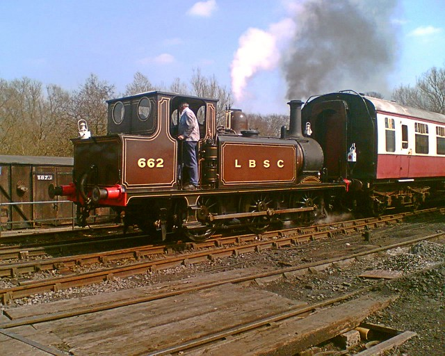 LBSC Terrier, No.662 at the Colne Valley Railway, hauling a train away from Castle Hedingham. 08 04 2007