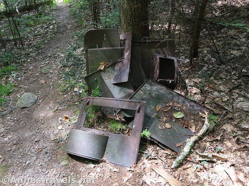 A pile of - something - rusting metal - near the top of Wolf Run along the Golden Eagle Trail, Tiagaghton State Forest, Pennsylvania