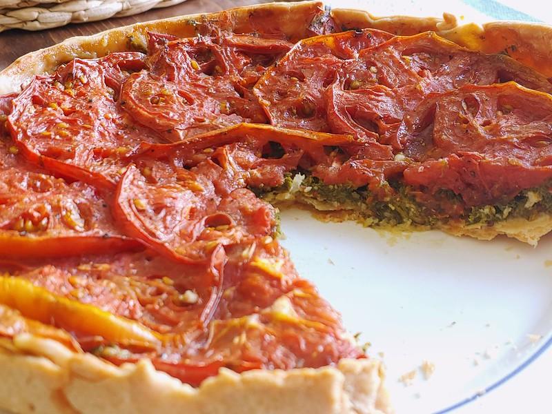 Tomato, Carrot Top Pesto, and Drunken Goat Cheese Tart