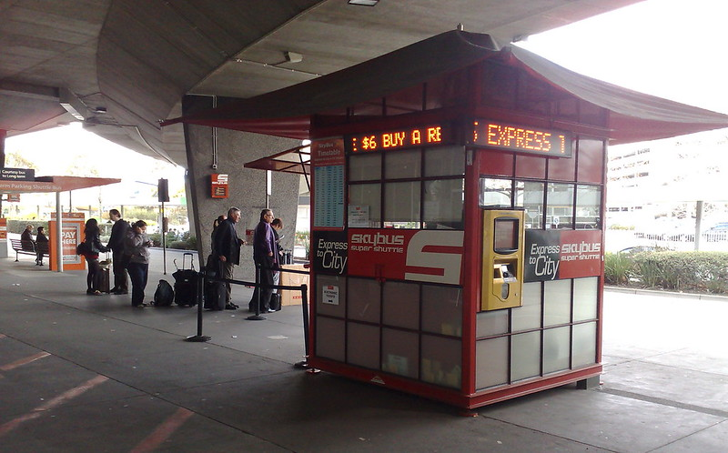 Skybus ticket booth at Melbourne Airport, August 2010