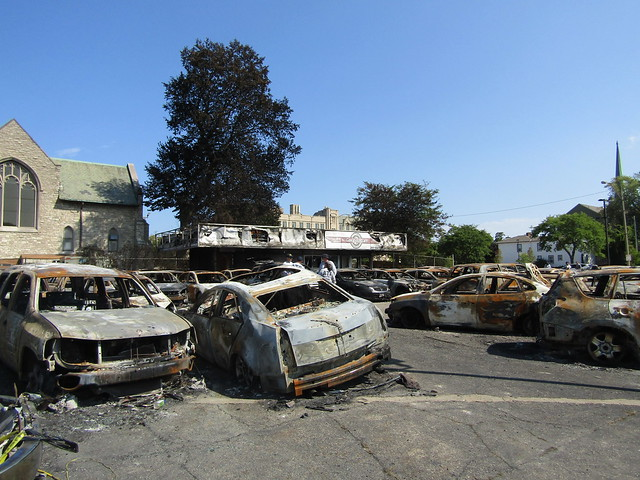 Car Source lot - burnt cars (with people in ATF gear in the background)