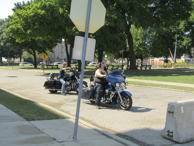 Bikers riding through downtown Kenosha