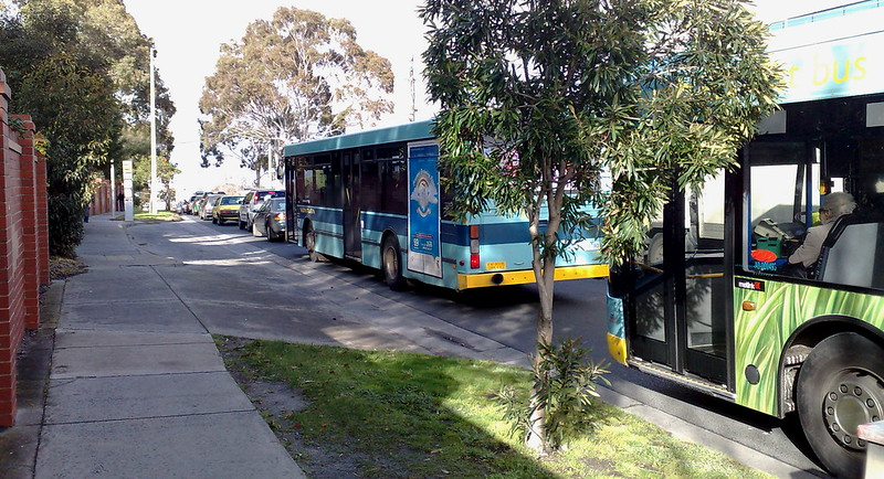 Buses in traffic near Clayton station, August 2010