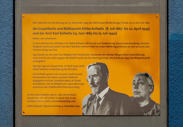 Gedenktafel am ehemaligen Wohnhaus von Käthe Kollwitz