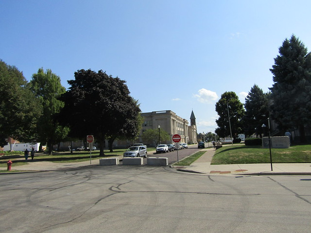 Barriers at the approach to the Kenosha County Courthouse, at 10th Avenue/56th Street intersection