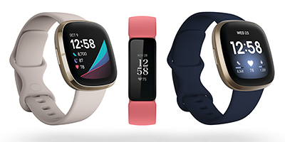 From Left: Fitbit Sense, Inspire 2 and Versa 3.
