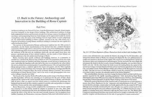 "ROMA ARCHEOLOGICA & RESTAURO ARCHITETTURA 2020. H. Petter, Chp. 13. ""Back to the Future: Archaeology & Innovation in Building of Roma Capitale,"" pp. 332-53; J. Coulston et al., ANCIENT ROME – THE ARCHAEOLOGY OF THE ANCIENT CITY'. Oxford (2000)."