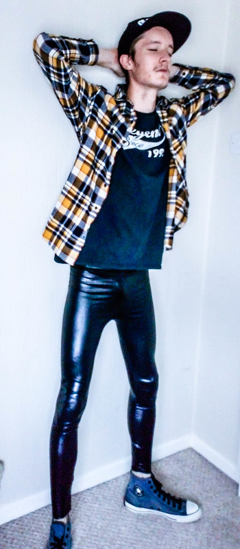 Alternative Men's Fashion with Leggings and Flannel Shirts