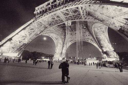 Under the Eiffel Tower in Paris, France