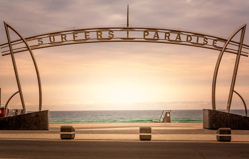 surfersparadise summer sign sunrise cloudy iconic beach water lovely