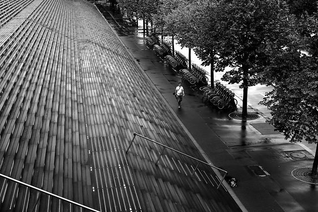 On the deserted sidewalk