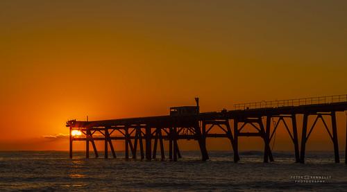sunrise australia beach jetty wharf ocean