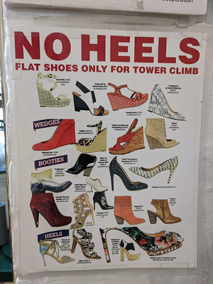 NO HEELS (tower was closed)