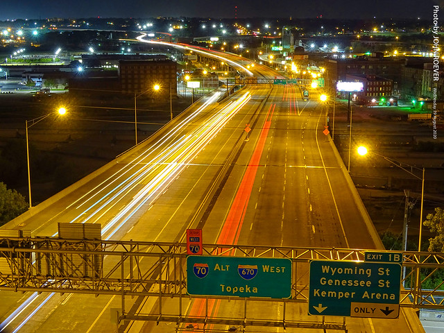 I-670 in West Bottoms in KC (10 sec), 19 Aug 2020