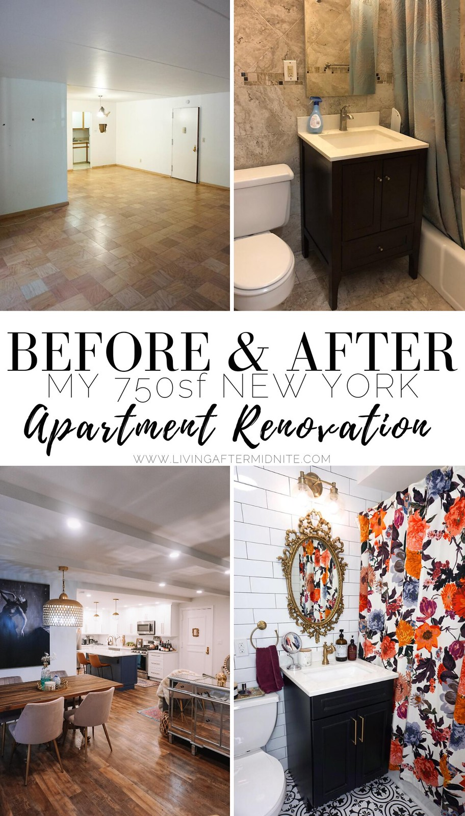 750 square foot New York Apartment Renovation | Eclectic Modern Decorating Style Home Decor Inspiration | Before After Home Reno Photos
