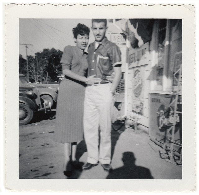 Vintage 1950s Snapshot : Couple Posed Outside Store