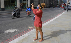 DSC_4715a Alesha from Jamaica Brown Mini Dress and COVID-19 Coronavirus Face Mask out on the Town City of London Bishopsgate