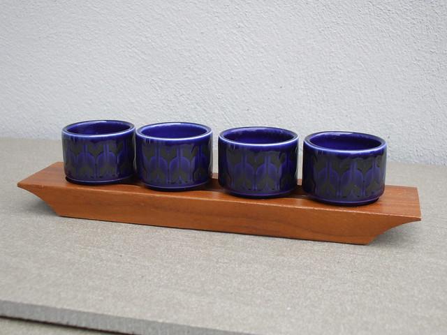 Vintage Hornsea Heirloom Dark Cobolt Blue Egg Cup Set & Teak Stand Mid Century Modern