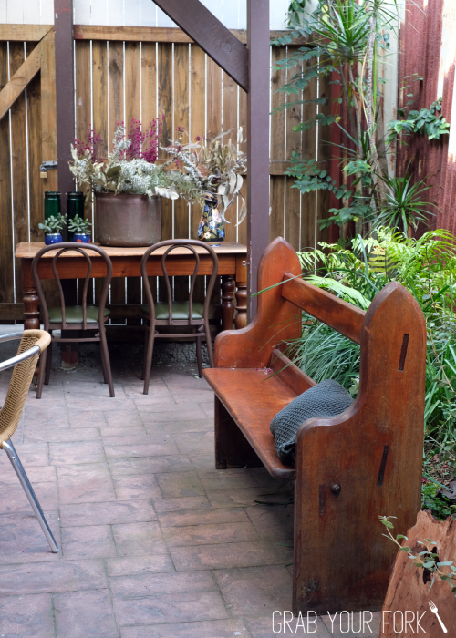 Courtyard seating at Bush Redfern Sydney