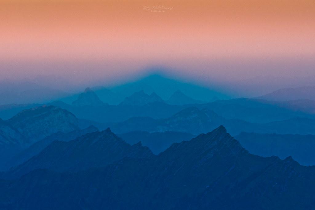 Sunrise - shadow of the Säntis peak