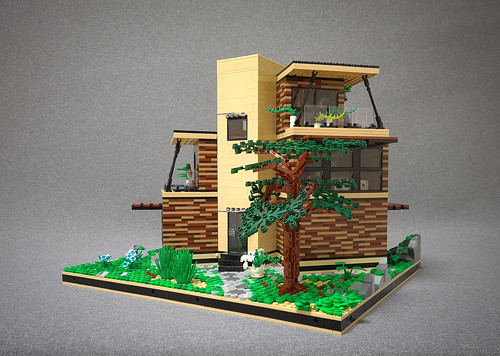 Angled Case House MOC. Behind the tree.