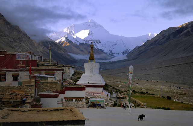 Sunrise at Mt Everest and the monastery of Rongphu, Tibet 2019
