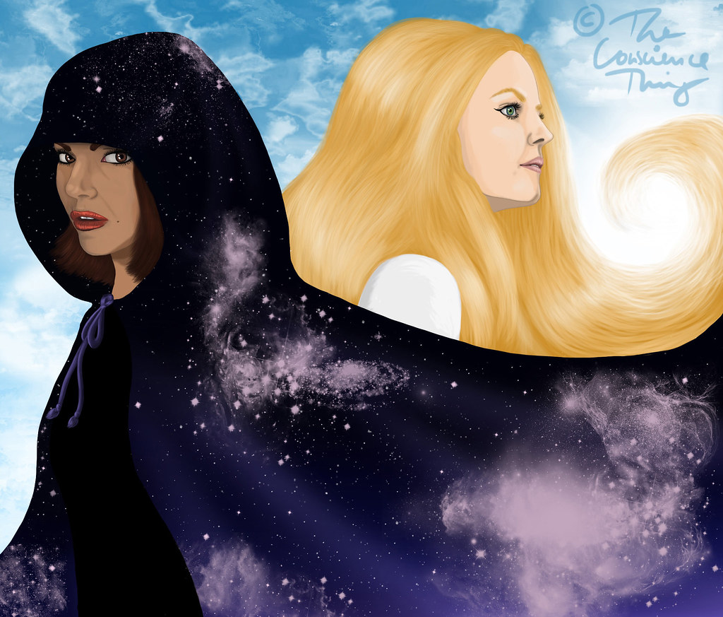 A drawing of Emma and Regina. Regina is in the front looking directly at the viewer. She represents the night and darkness. She's dressed in black wearing a hooded coat made of midnight and the universe. Behind her is Emma, you only see the side of her face. She represents the day and light. She's dressed in white and her blonde hair shines brightly in the sunlight, her background is a bright blue sky with white clouds.