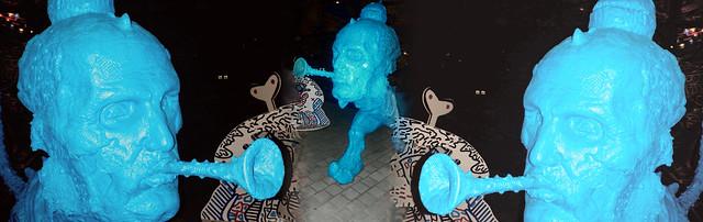 Blue Meanies outside a Roehampton condo complex