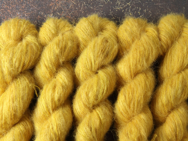Fuzzy Lace – Brushed Baby Suri Alpaca & Silk hand dyed yarn 25g – 'Colonel Mustard'