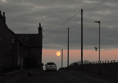 nikon p900 coolpix northumberland northeast cresswell cresswellponds dusk sunset silhouette silhouettephotography moon lunar light village cresswellvillage houses buildings telegraphpole wires powerlines moonrise