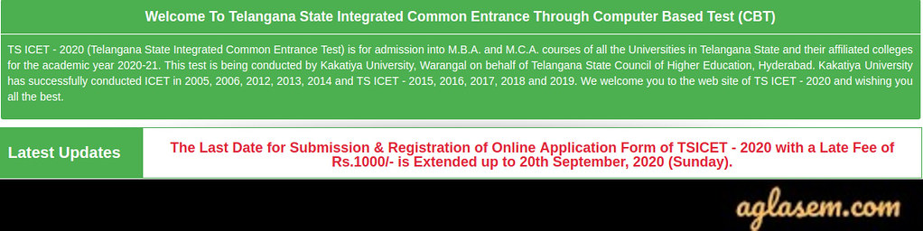TS ICET 2020 Last Date to Apply – Extended