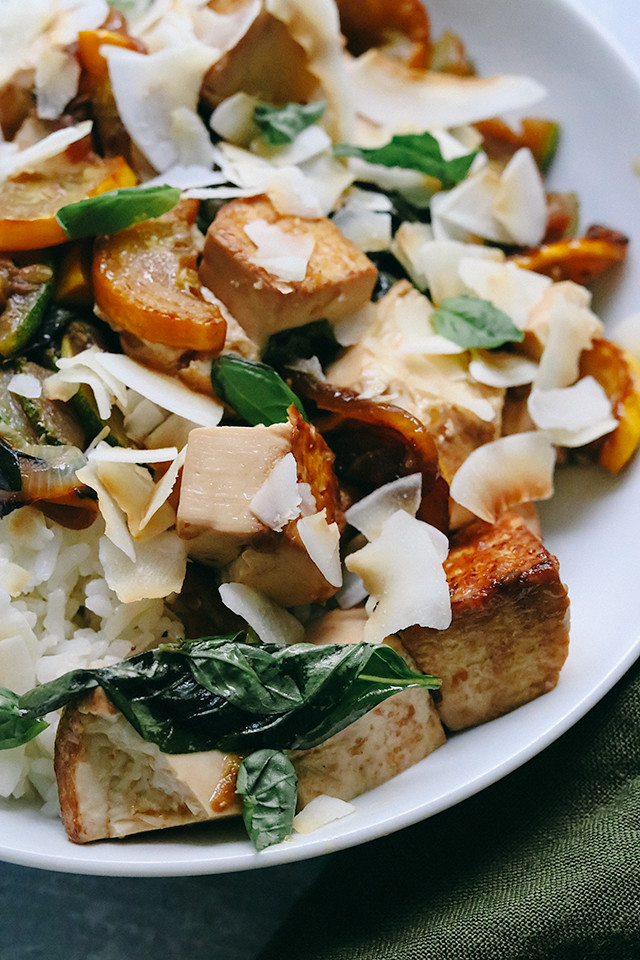 Stir Fried Tofu with Summer Squash, Basil, and Toasted Coconut
