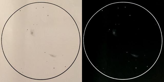 VCSE - Az M81 (jobbra fenn) és M82 (balra lenn) rajza. A képre klikkelve a rajz mérete megnő - Román Dávid