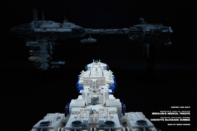 Lego Nebulon-B and Corvette MOCs