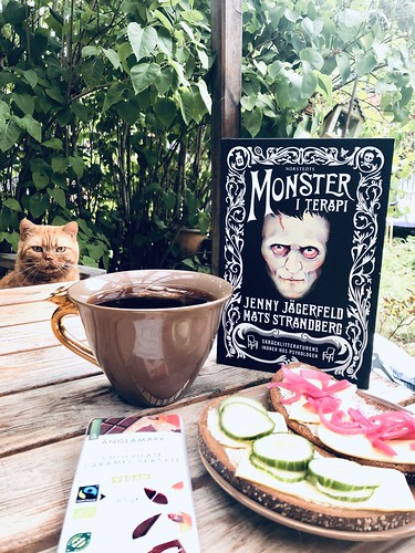vegan breakfast and monster in therapy book, august 2020