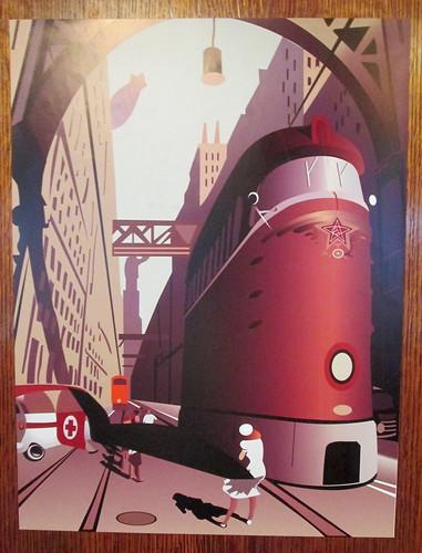 Art Deco Poster in Carron Restaurant, Stonehaven