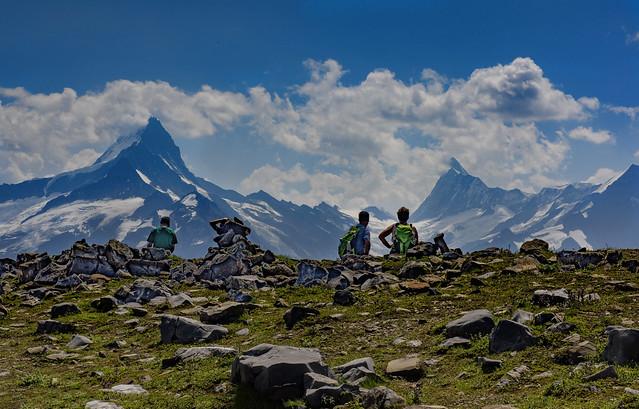 Hiking the Schynige Platte ;The Wetterhorn (3,692 m) & The Finsteraarhorn (4,274 m (14,022 ft) Canton of Bern , Switzerland. No. 497.