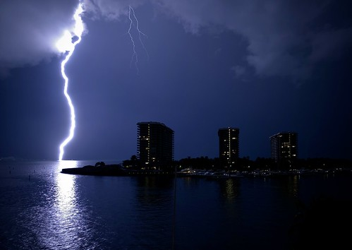 Lighning over Biscayne Bay, Grove Isle