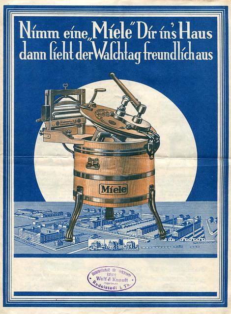 Werbefalltblatt für Waschmaschinen der Firma Miele