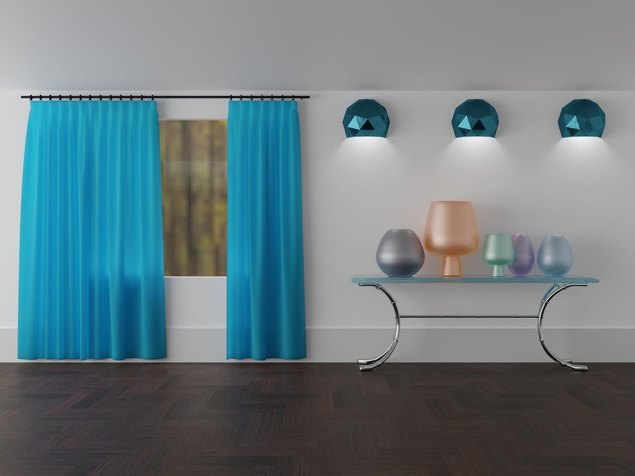 Interior with blue curtains