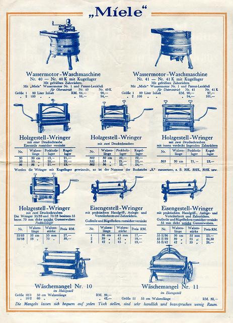 Werbefalltblatt für Waschmaschinen der Firma Miele, Seite 3