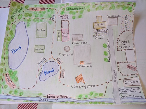Photo of hand drawn map of backyard state park