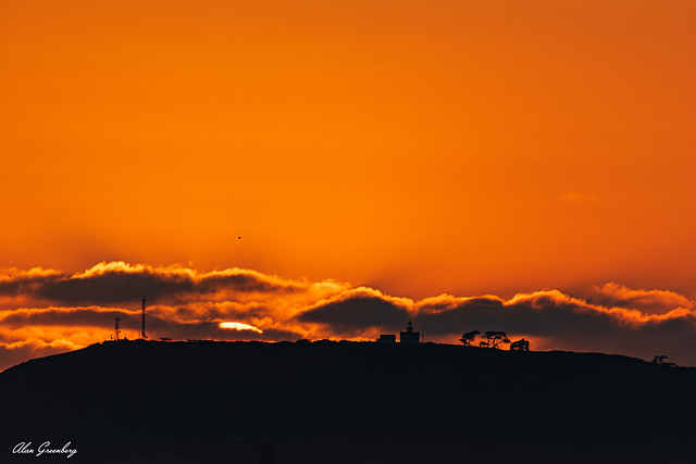 Point Loma Lighthouse in silhouette