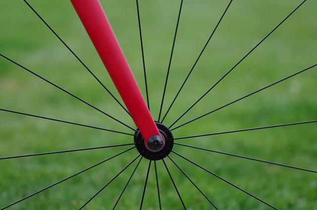 Red bike fork & spokes