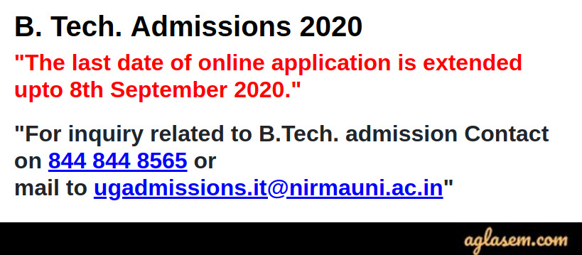 Nirma University B.Tech Admission 2020 Application Form Deadline Extended