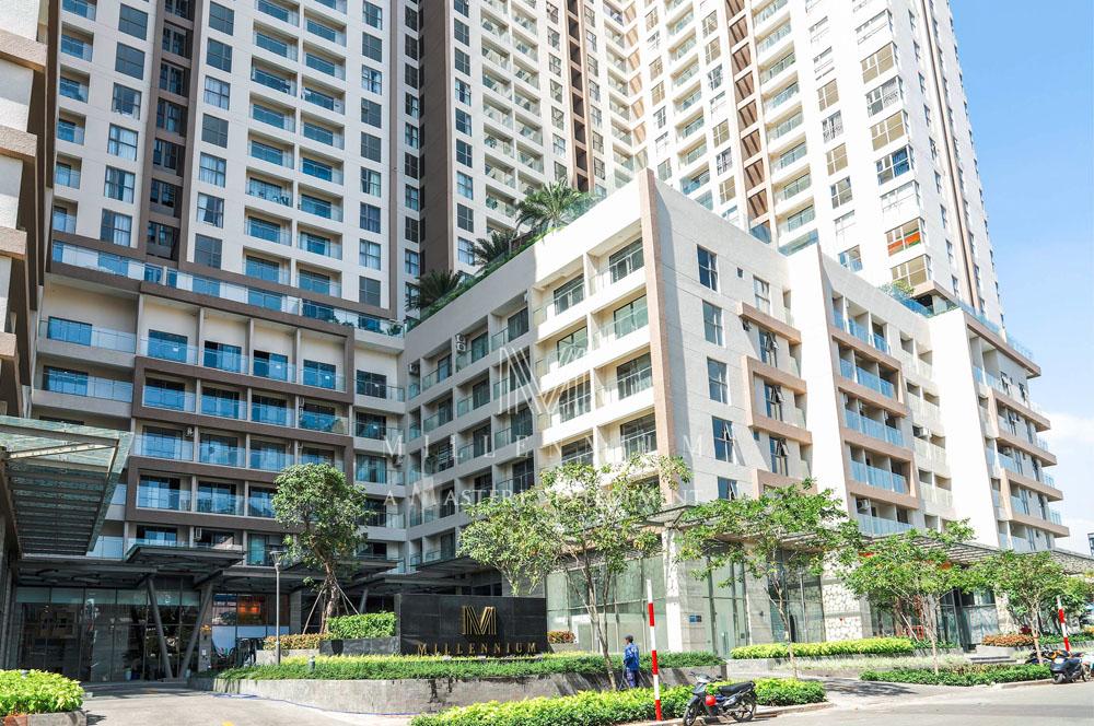 Ảnh thực tế chung cư hạng sang Millennium nhìn từ đường Nguyễn Hữu Hào.