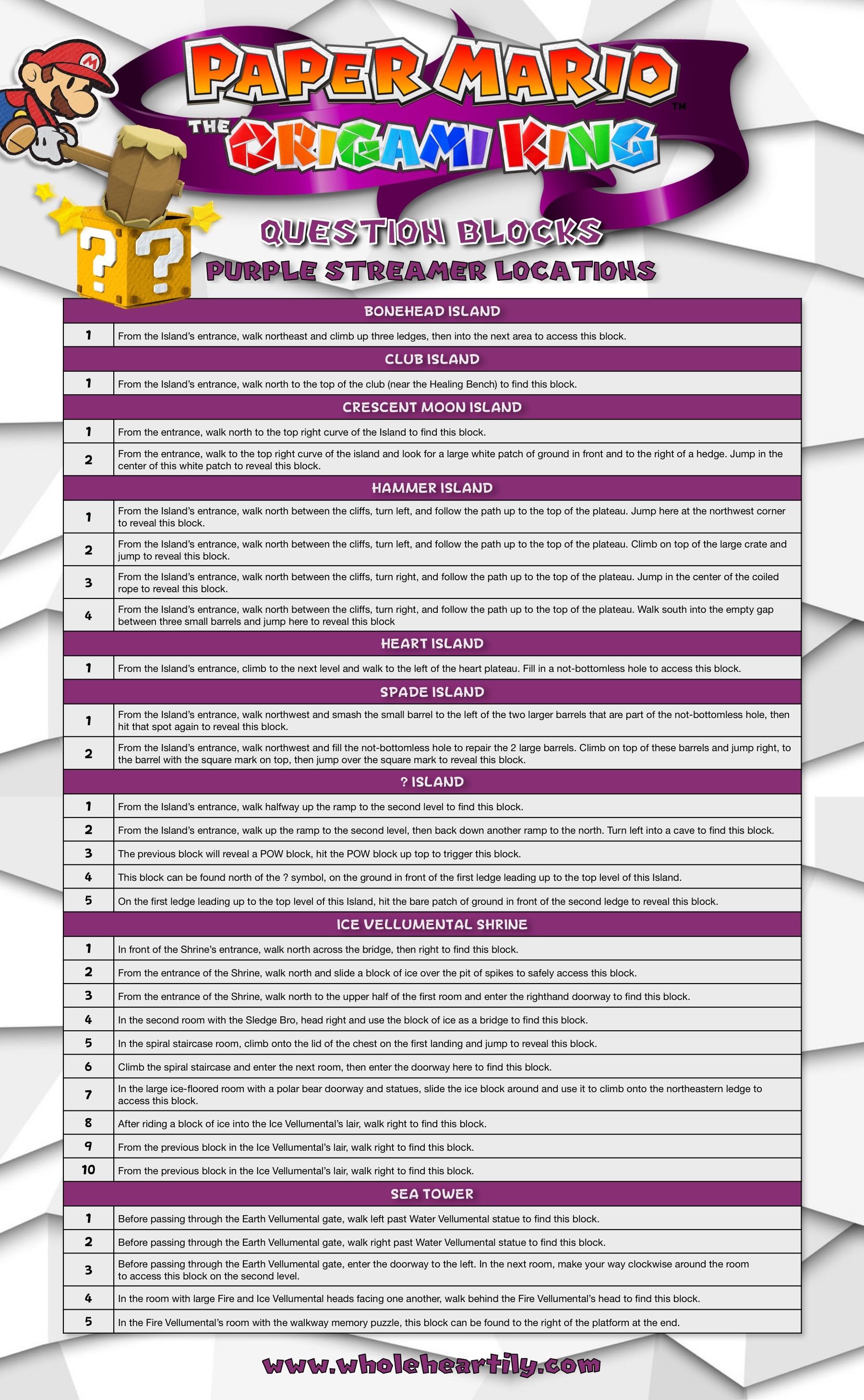 Paper Mario: The Origami King - Purple Streamer Question Blocks Guide