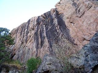 Le mur du secteur de gauche de la falaise