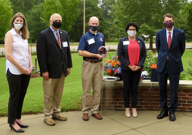 Pictured, from left, are Katie Boyd, director of academic assessment; William Dozier, department head and professor, Poultry Science; Leonard Bell, retired professor and Food Science Program coordinator; Amy Wright, associate dean for instruction and professor, Horticulture; and Provost Bill Hardgrave.