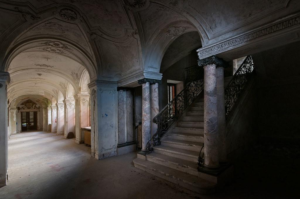 The elegant staircase of Villa Grazia
